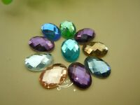 100 PCS 10mm X 14mm Oval Glass Faceted Glass Flat Back Jewels