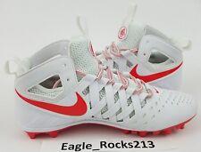 $100 Nike Huarache V Mid Lacrosse Cleats Shoes Sz 13 Men's White Crimson Red New