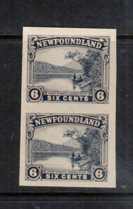 Newfoundland #136a Extra fine Mint Imperf Pair Unused (No Gum) As Issued
