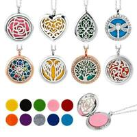 Aroma Diffuser Pendant Perfume Essential oil Aromatherapy Necklace Chain w/ Pads
