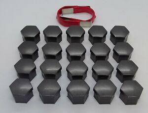 WHEEL NUT COVERS FOR SAAB 9-3 9-5 93 95 SMOKE NICKEL BOLT CAPS 17mm x 20