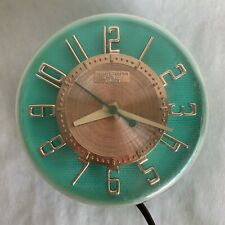 Vintage GE Telechron Wall Clock Mid Century Kitchen 2H104 Turquoise Gold Working