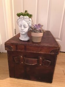 📦 Vintage Leather Chest Storage Blanket Box With Lid Pine Chest Steamer Trunk
