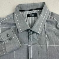 Alfani Button Up Shirt Mens Large Gray Long Sleeve Regular Fit Windowpane Check