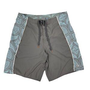 Quiksilver Mens Flat Front Polyester Drawstring Gray Swim Trunks Size Medium