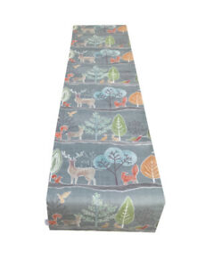 Voyage Ariundle woodland Highland cattle deer Stag rabbit fox lined table runner