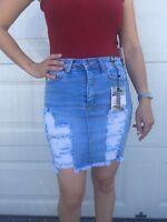 Refuge Ripped High Waisted Stretch Denim Skirt