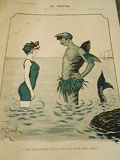 The Triton Master Swimmer style Sieren in man Gerbault Print Art Déco 1907