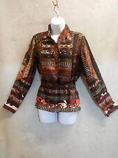 Etro Milano Silk Blouse long sleeve Shirt italy 42 us 10