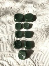 Set 9 vintage retro mod green rounded square pattern buttons coat cardigan