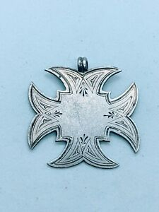 Antique Victorian 1894 Sterling Silver 925 Shield Medal Pocket Watch Fob 3.5g