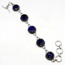 "Silver Jewelry Bracelet 7-8"" Yv11385 Sakota Mine Blue Sapphire Gemstone .925"