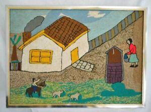 Polar Bear Huge Vintage Needlework Naive Impressionist Folk Art Cubs Village