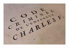 1779 Code Criminel de Charles V Quint Empereur Question Torture Inquisition Rare