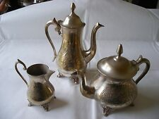 VINTAGE EPNS SILVER PLATE TEA AND COFFEE POT WITH MILK CREAM JUG HEAVY TEASET