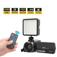"1080P 30MP 18X 3.0"" Digital Video Camera Recorder Camcorder DV + LED Fill Light"