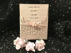 WEDDING INVITATION  CARD & PINK BLUSH PEARL  LASER CUT 4 CARD POCKET