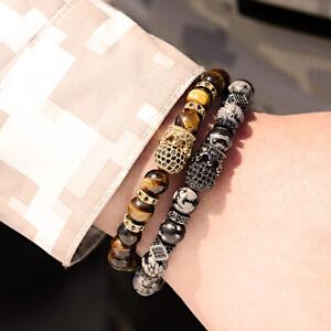 Luxury Men's 24kt Micro Pave CZ Ball Crown Tiger Eye & Snow Stone Bracelets Gift
