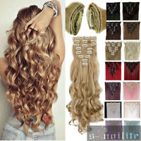 8Pcs/Set Full head Clip in on Hair Extensions Extension Real as human Hair HG31