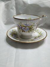 Vintage Royal Heritage Bone China Tea Cup Saucer Purple Flowers Gold Trim Footed
