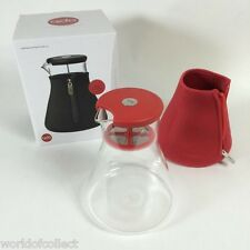 QDO Glaskaraffe warm oder eis Tee 1,2L teebereiter Teekanne mit rot Neoprenanzug