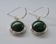 925 Sterlingsilber Ohrringe mit grünen Malachit Edelsteinen, cabochons