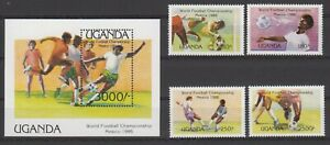 Uganda 460-463  + Bl. S/S 56 postfrisch  MNH ** Fussball Football 1986