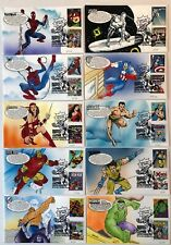 US FDC FIRST DAY COVERS Hand Painted FDC's  set of 10 Marvel comics 2007
