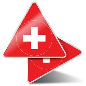 2 x Triangle Stickers  7.5cm - Switzerland Flag Map Swiss  #9063