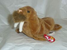 Paul retired 1999 Ty Beanie Babie 8in brown plush walrus 3up Mwmt 4248