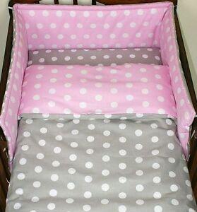2-5 Piece Nursery Bedding Set 120x90 or 135x100 or 150x120 cm Dots on Pink/Grey