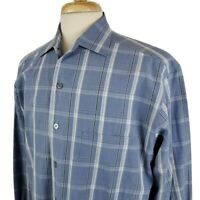 Ermenegildo Zegna Men's Large Blue Plaid Long Sleeve Dress Shirt Cotton Italy