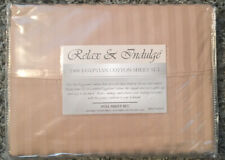 Relax & Indulge Full Sheet Set 400T Egyptian Cotton Tan/Beige Subtle Stripes