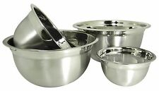 4 Stainless Steel Deep Euro Style Mixing Bowl Set.75  1.5  3 and 5 Quart QT
