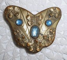 Vintage Blue Rhinestone Butterfly Shaped Flowers Brass Belt Buckle Art Nouveau?