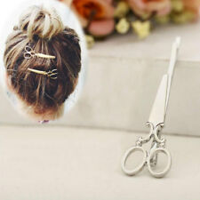 2X Haarspange Schere Haarschmuck Haarklammer Haarnadel Gold Silber Haarclip Clip