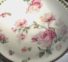 "ANTIQUE HAVILAND LIMOGES PORCELAIN 12"" CHARGER CAKE PLATE HUGE ROSES CLOVER FAB"