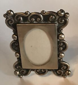 VINTAGE ORNATE MEXICO SCROLL DESIGN STERLING SILVER PICTURE FRAME