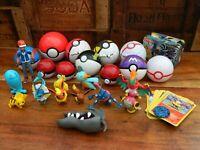 Pokemon Toy Bundle - Tomy Pokeball and Figures + Cards and Tin