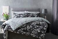 Belledorm 100% Cotton Reversible Floral Duvet Cover Set Charcoal Grey King Bed