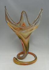 """Mid-Century ~ 1960's  Murano Vase Hand Blown Art Glass Swirled Base Orange  14"""""""