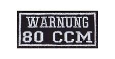 Warnung 80 CCM Kubik Biker Patches Aufnäher Rocker Bügelbild Kutte Motorrad Stic