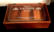 RARE! WOOD PATRON TEQUILA COLLECTION WOODEN BOX CLEAR HINGED LOGO LID BAR