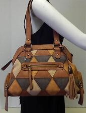 Gal Multicolor Brown Nubuck Suede Leather Patchwork Satchel Handbag Shoulder Bag