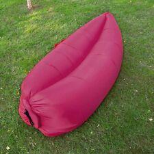 Rose Red Inflatable Air Bed Sofa Lay Sack Hangout Camping Beach Bean Bag