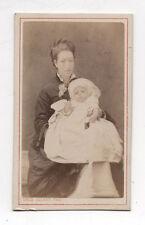 PHOTO CDV Emile GODARD Angoulême Femme Bébé Robe Vers 1870 Baptême