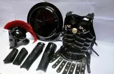 300 Spartan Muscle Armour Black Finish Helmet, leg, arm Guard & Shield Replica