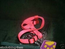 New  Pink Adjustable Dog Harness w 48 in Chrome Chain