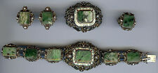 HUNGARY ANTIQUE SILVER MOSS AGATE ENAMEL & PEARL BRACELET PIN RING EARRINGS SET
