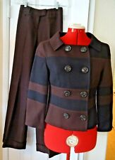 Escada 2 Piece Brown Black Wool Blend LS Double Breasted Jacket Pantsuit-Size 34